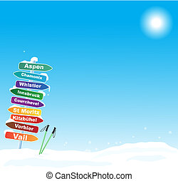 berühmt, ski- reise, abbildung, bestimmungsorte