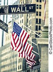 berühmt, wall street zeichen