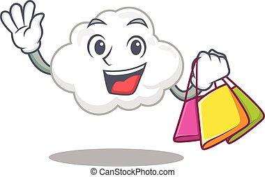 berühmt, zeichen, weißes, reich, shoppen, karikatur, säcke, wolke, besitz