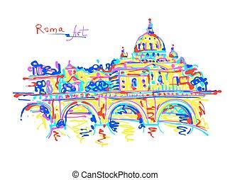 berühmter ort, von, rom, italien, original, zeichnung, in,...