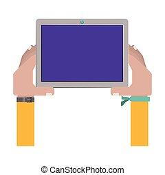 berühren, armband, besitz, tablette, hände