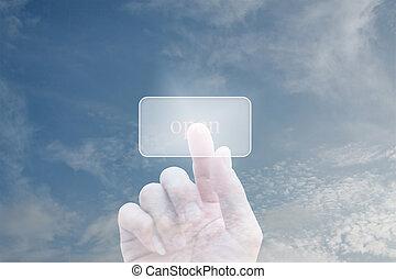 berühren, drücken, screen., hand