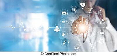 berühren, medizin, vernetzung, schirm, medizinprodukt, stethoskop, technologie, doktor, schnittstelle, virtuell, hand, ikone, begriff, anschluss, modern