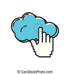 berühren, rechnen, wolke, hand
