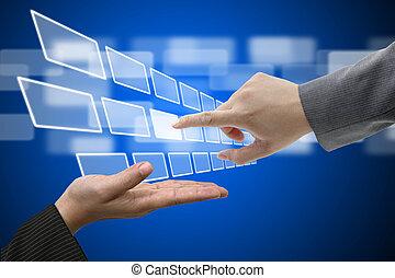 berühren, schnittstelle, schirm, technologie, virtuell