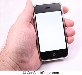 berühren, telefon, schirm, modern, weißes