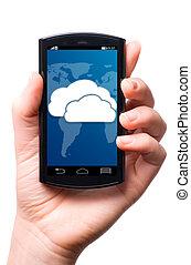 berühren, telefon, schirm, wolke