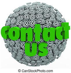 berühren us, @ symbol, kugelförmig, kunde, rückkopplung, comments