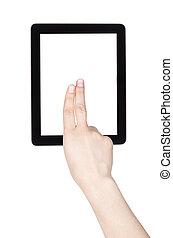 berührungsbildschirm, tablette, edv, mit, hand