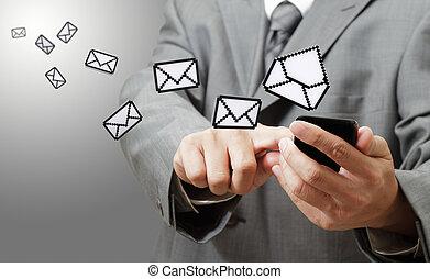 berührungsbildschirm, telefon, und, pixel, e-mail, ikone, als, begriff