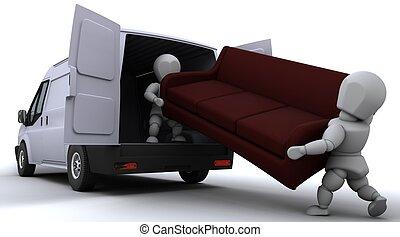 berakodás, furgon, férfiak, eltávolítás