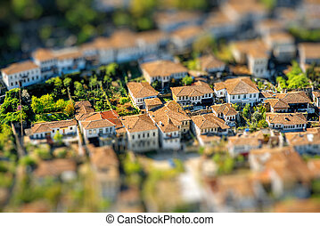 Historic city of Berat in Albania, World Heritage Site by UNESCO, top view from the castle.