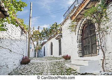 berat, cobbled, strada, albania