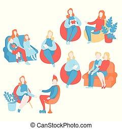 beraten, psychologe, psychotherapie, beratungsgespräch, therapist., individuum, psychiater, paar, satz, gruppe, jugendlich, therapie, session., wohnung, psychology., psychologisch