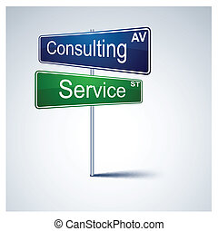 beraten, service, richtung, zeichen., straße
