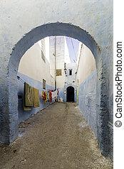 berberisco, pueblo, el, marroquí, azemmour, callejón, tipo, ...