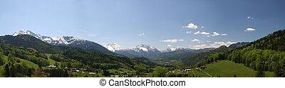 Berchtesgaden alps - panoramic view over the Berchtesgaden...