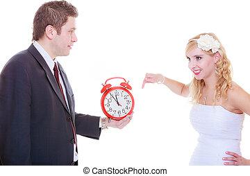 berciare, orologio, grande, sposo, sposa, presa a terra, rosso