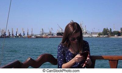 Girl in Berdyansk of seaport