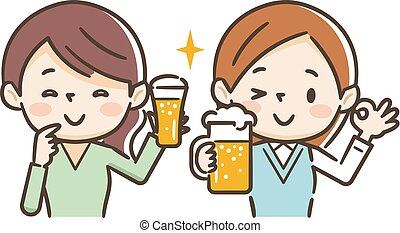 bere, birra, illustrazione, donne