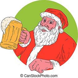 bere, claus, birra, santa, disegno