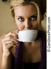 bere, donna, caffè, giovane