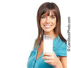 bere, donna, latte