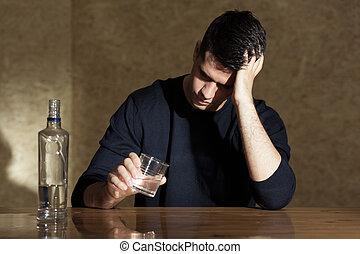 bere, giovane, vodka, uomo