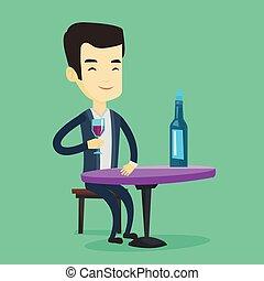 bere, uomo, restaurant., vino