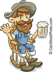 bere, vecchio, birra, uomo