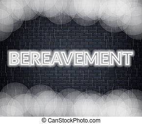Bereavement neon lettering. Sad mood. Vector illustration