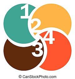 beregner, farverig, numeration, cirkelrund