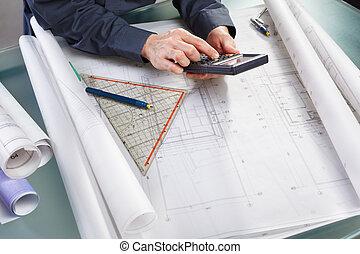 beregning, på, konstruktion