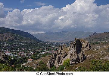 bereich, goris, syunik, mittelalterlich, höhle, armenien, provinz, wohnungen