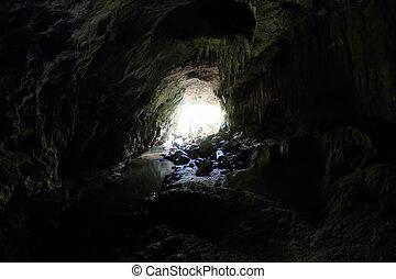 bereich, höhle, prächtig, zahl, groß, stalaktiten,...