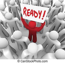 bereid, uitdaging, volgende, stap, gereed, meldingsbord, man