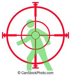 bereik, sluipschutter, of, in het oog krijgen, geweer
