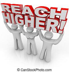 bereiken, hoger, mensen, het tilen, woorden, bereiken, doel
