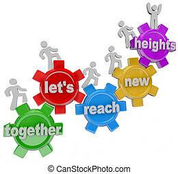bereiken, samen, hoogten, verhuur ons, toestellen, team,...