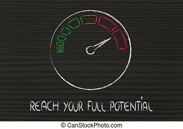 bereiken, vasten, success:, potentieel, snelheidsmeter, jouw
