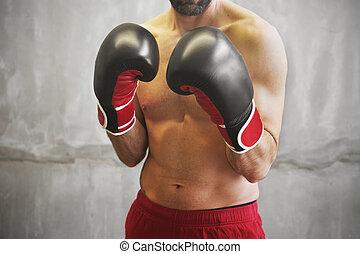 bereit, boxen, mann, kampf