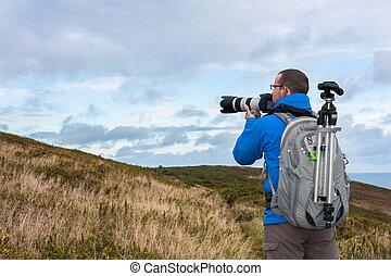 bereit, fotograf, nehmen, foto