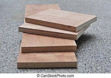 bereit, gestapelt, montage, sperrholz