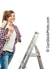bereit, reizend, paint., lackierer, weibliche