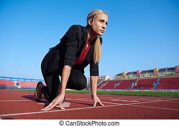bereit, sprint, frauenunternehmen