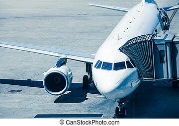 bereitet, passagiere, eben, fluggesellschaften, brett