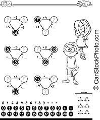 berekening, onderwijs, kleurend boek, klus