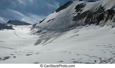 Berelskoe sedlo. View to the Belukha Mountain glaciers....