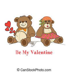 beren, paar, liefde, teddy