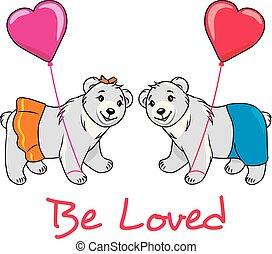 beren, postkaart, love., teddy